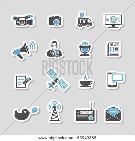 Media And News Icons Sticker Set