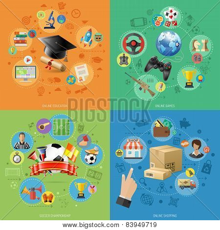 Set Banners Of Online Internet Technology