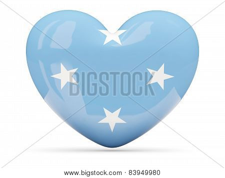 Heart Shaped Icon With Flag Of Micronesia