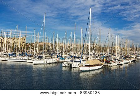 Yachts in Port Forum in Barcelona, Spain.