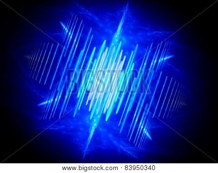 Blue Glowing Wave Shaped Signal