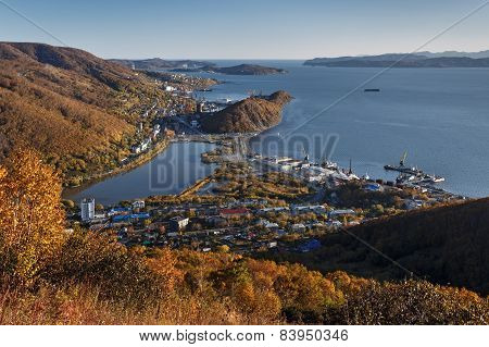 View of city Petropavlovsk-Kamchatsky. Kamchatka, Russia