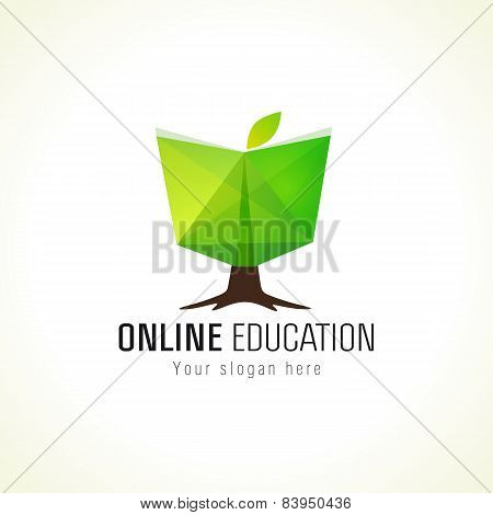 Online education logo book tree