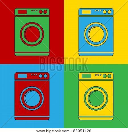 Pop Art Washing Machine Simbol Icons.