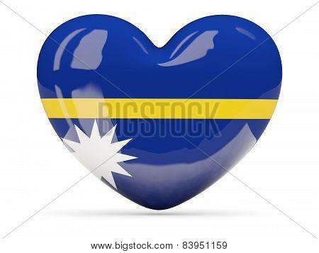 Heart Shaped Icon With Flag Of Nauru