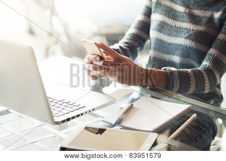 Business Woman Texting With Her Mobile