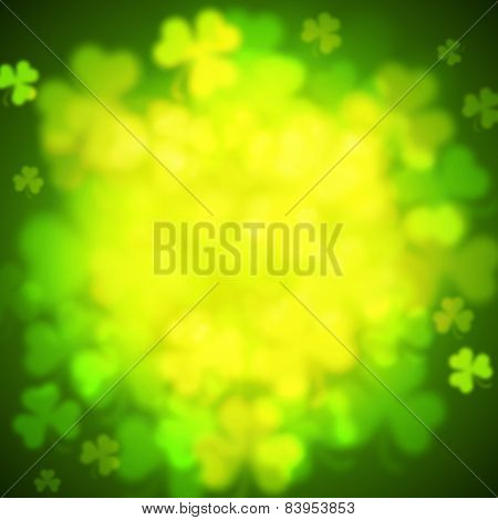 Abstract Unfocused Shamrock Leaves, Saint Patricks Day Vector Background