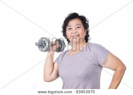 Asian Strong Senior Woman Lifting Weights, Isolated On White Background