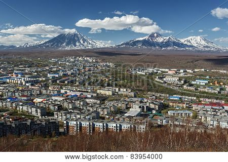 View Of City Petropavlovsk-kamchatsky And Volcanoes. Kamchatka (russia)