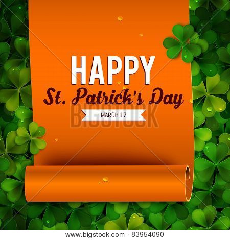 Saint Patricks Day Card, Ribbon On Realistic Shamrock Leaves