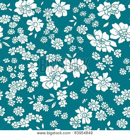 Seamless vector floral pattern in retro style.