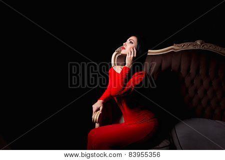 Sensual Woman In Red Elegant Dress