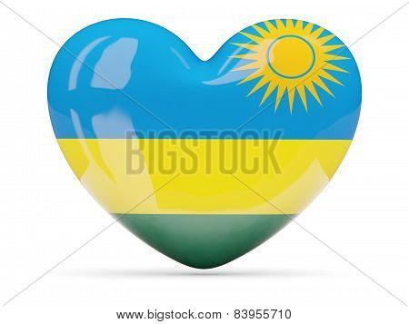 Heart Shaped Icon With Flag Of Rwanda