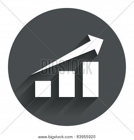 Chart with arrow sign. Success diagram symbol.