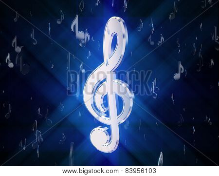 A Silver Treble Clef, Surrounded By Musical Signs On A Black Background