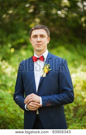 Portrait, groom getting ready for the wedding