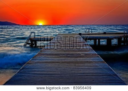 A Digitally Converted Painting Of A Wooden Pier At Sunset