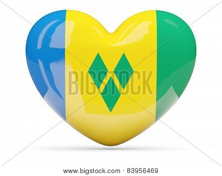 Heart Shaped Icon With Flag Of Saint Vincent And The Grenadines