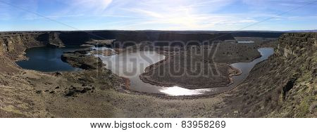 Panorama of Dry Falls in Washington State
