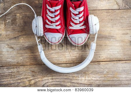 Sneakers and headphones