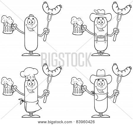 Black And White Sausage Cartoon Mascot Character 3. Collection Set