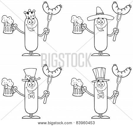 Black And White Sausage Cartoon Character 2. Collection Set