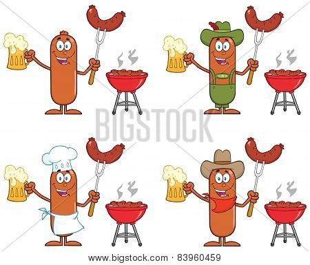 Sausage Cartoon Character 10. Collection Set Isolated On White