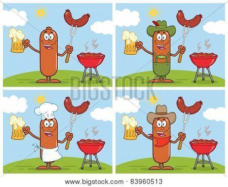 Sausage Cartoon Mascot Character 8.  Collection Set
