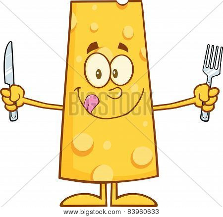 Hungry Cheese Cartoon Character With Knife And Fork