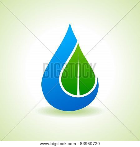 Save Nature Concept - Leaf inside the waterdrop