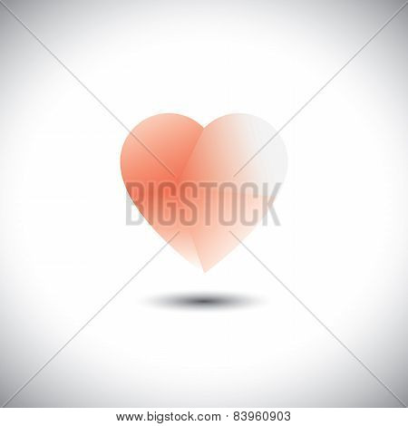 Light & Transparent Heart Icon Representing Love Emotion - Vector Icon