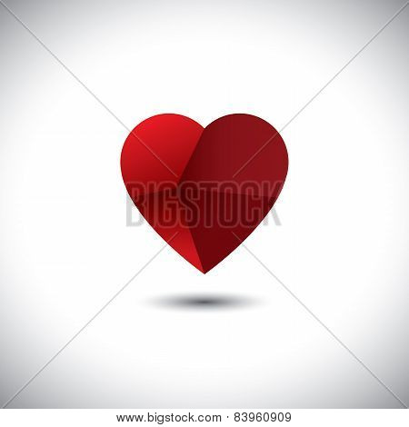 Paper Folded Heart Icon Representing Love Emotion - Vector Icon