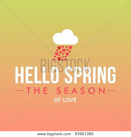Vector Illustration With Template Text Hello Spring. Creative Design For Wedding Invitations, Greeti