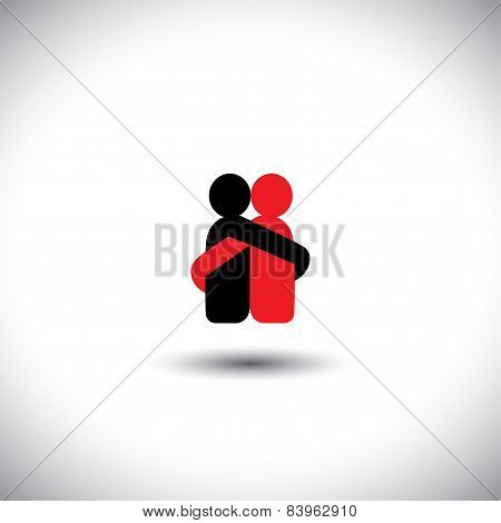 Lovers Hug Each Other In Deep Love & Romantic Mood - Vector Icon