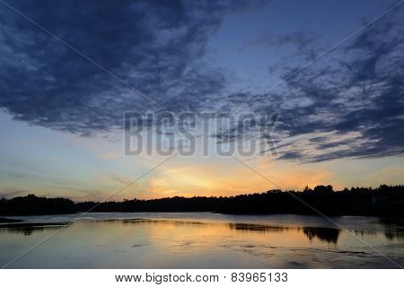 View of Water and Sky at Sunset