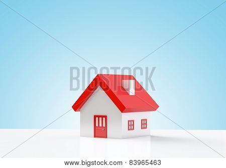 House On Blue Background