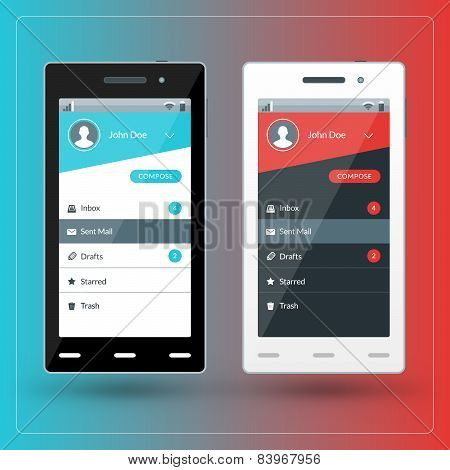 Modern Smartphone With Email App Screen. Flat Design Template For Mobile Apps