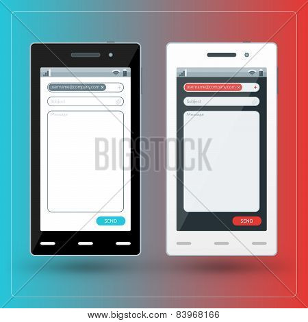 Modern Smartphone With Email App On The Screen. Flat Design Template For Mobile Apps