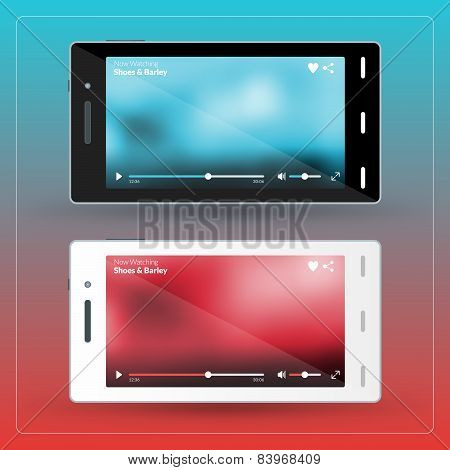 Modern Smartphone With Video Player On The Screen. Flat Design Template For Mobile Apps