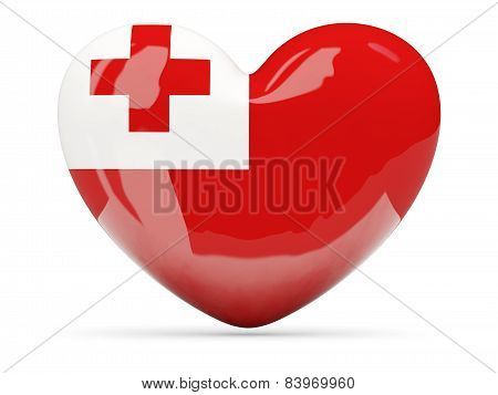 Heart Shaped Icon With Flag Of Tonga