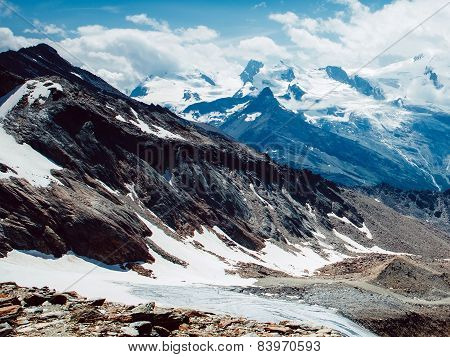 Mountain Snow With Clouds