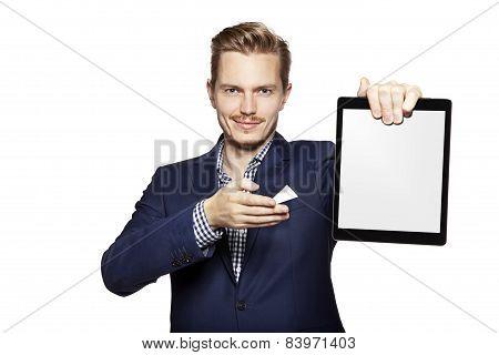 Man Pointing At Digital Tablet