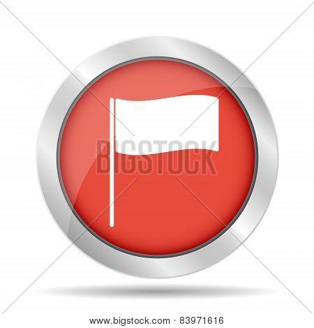 Flag Icon. Location Marker Symbol. Flat Design Style.