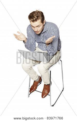 Young Man Gesturing By Hands
