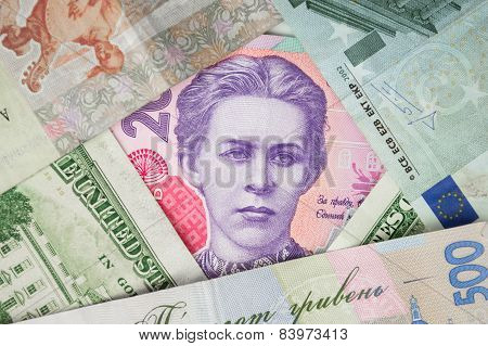 Portrait of Lesya Ukrainka  on the banknote 200 hryvnia - Ukrainian currency