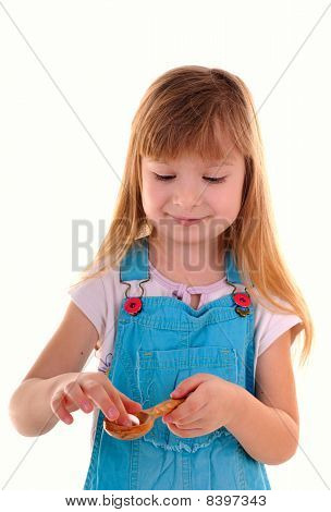 Small Beauty Girl With White Tablet And Spoon