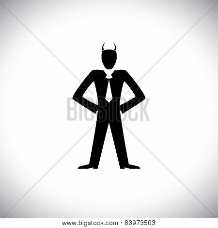 Vector Icon Of Bad Or Bully Manager Or Boss - Concept Graphic.