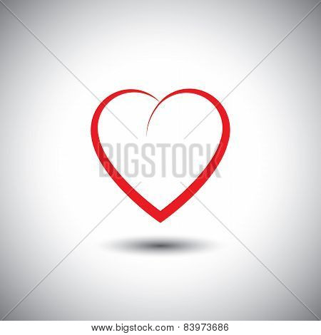 Simple Heart Icon Representing Love Emotion - Vector Icon.