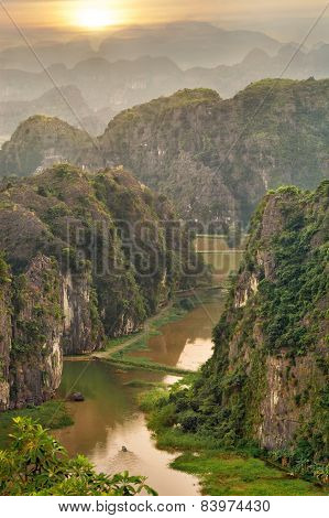 Sunset in the mountains from viewpoint, Vietnam