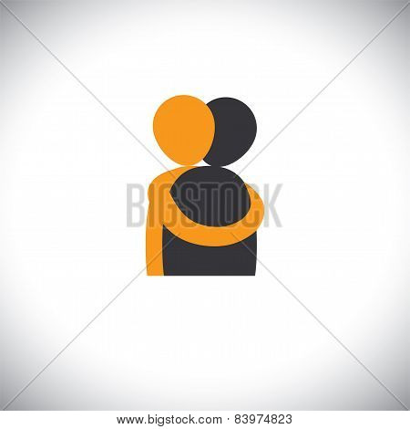 People Hug Each Other, Friends Embrace - Vector Graphic.